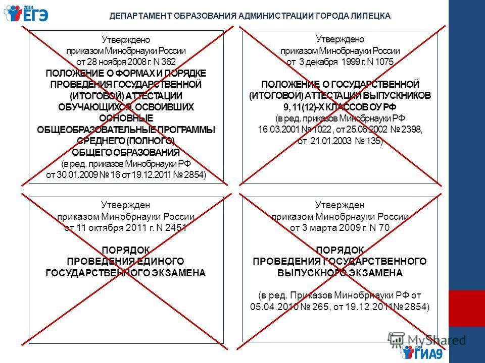 Утверждено приказом Минобрнауки России от 28 ноября 2008 г. N 362 ПОЛОЖЕНИЕ О ФОРМАХ И ПОРЯДКЕ ПРОВЕДЕНИЯ ГОСУДАРСТВЕННОЙ (ИТОГОВОЙ) АТТЕСТАЦИИ ОБУЧАЮЩИХСЯ, ОСВОИВШИХ ОСНОВНЫЕ ОБЩЕОБРАЗОВАТЕЛЬНЫЕ ПРОГРАММЫ СРЕДНЕГО (ПОЛНОГО) ОБЩЕГО ОБРАЗОВАНИЯ (в ред