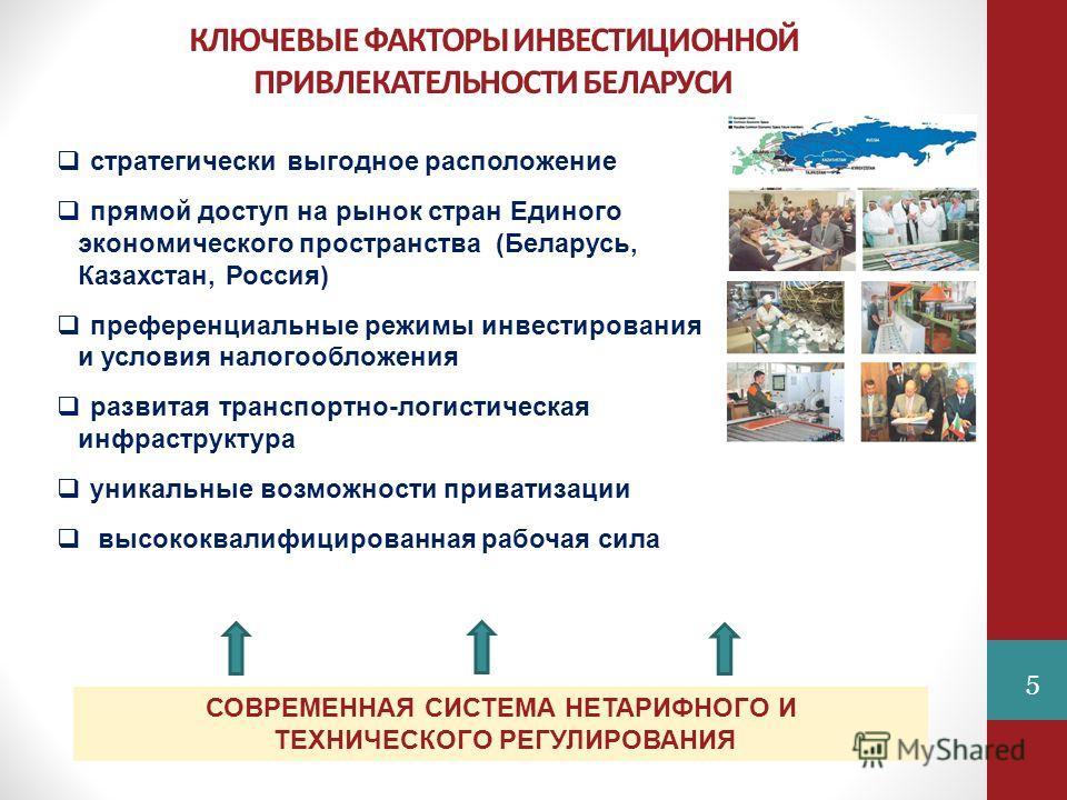 КЛЮЧЕВЫЕ ФАКТОРЫ ИНВЕСТИЦИОННОЙ ПРИВЛЕКАТЕЛЬНОСТИ БЕЛАРУСИ стратегически выгодное расположение прямой доступ на рынок стран Единого экономического пространства (Беларусь, Казахстан, Россия) преференциальные режимы инвестирования и условия налогооблож