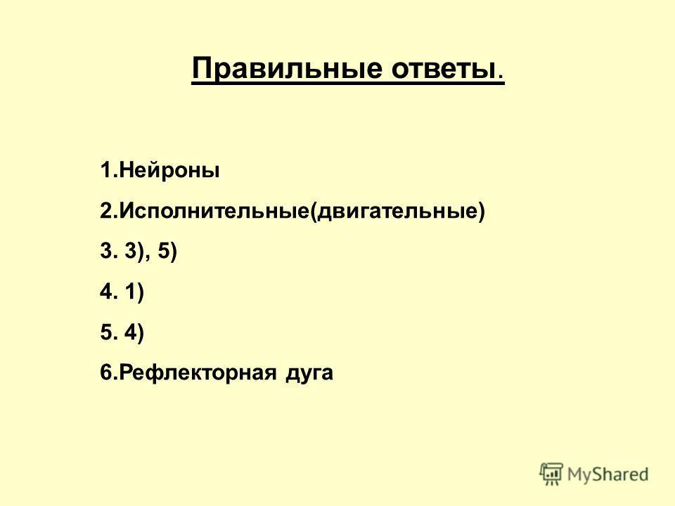 Правильные ответы. 1. Нейроны 2.Исполнительные(двигательные) 3. 3), 5) 4. 1) 5. 4) 6. Рефлекторная дуга