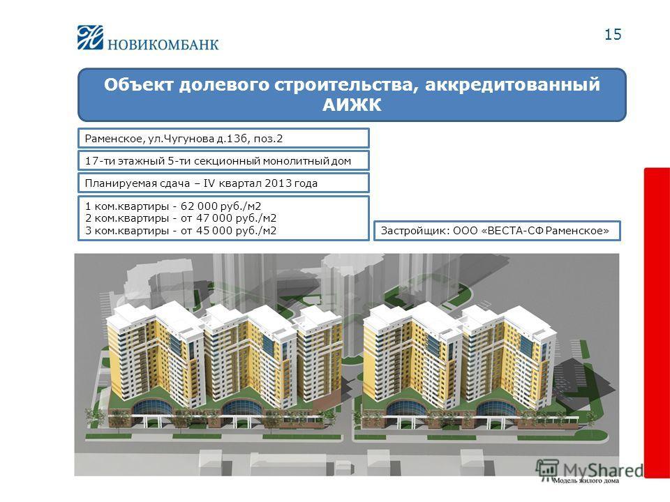 15 Объект долевого строительства, аккредитованный АИЖК 1 ком.квартиры - 62 000 руб./м 2 2 ком.квартиры - от 47 000 руб./м 2 3 ком.квартиры - от 45 000 руб./м 2 Раменское, ул.Чугунова д.13 б, поз.2 17-ти этажный 5-ти секционный монолитный дом Застройщ