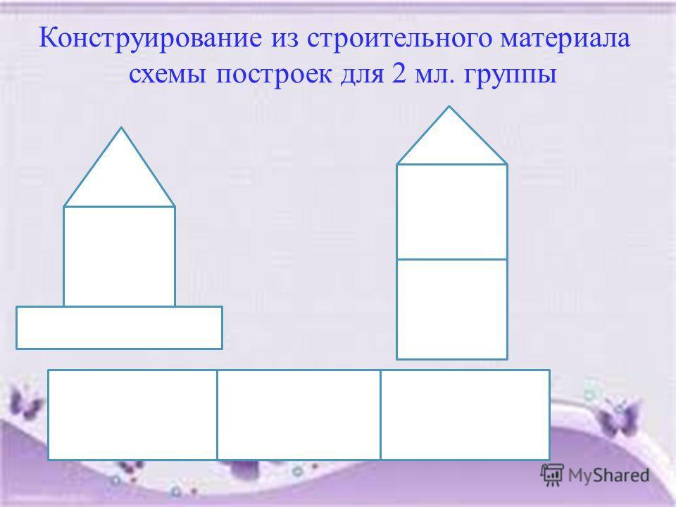 Конструирование из строительного материала схемы построек для 2 мл. группы