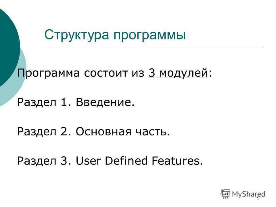 5 Структура программы Программа состоит из 3 модулей: Раздел 1. Введение. Раздел 2. Основная часть. Раздел 3. User Defined Features.