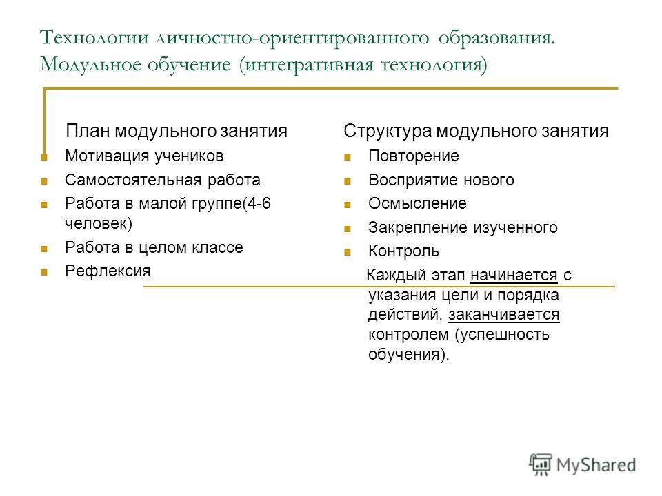 Технологии личностно-ориентированного образования. Модульное обучение (интегративная технология) План модульного занятия Мотивация учеников Самостоятельная работа Работа в малой группе(4-6 человек) Работа в целом классе Рефлексия Структура модульного