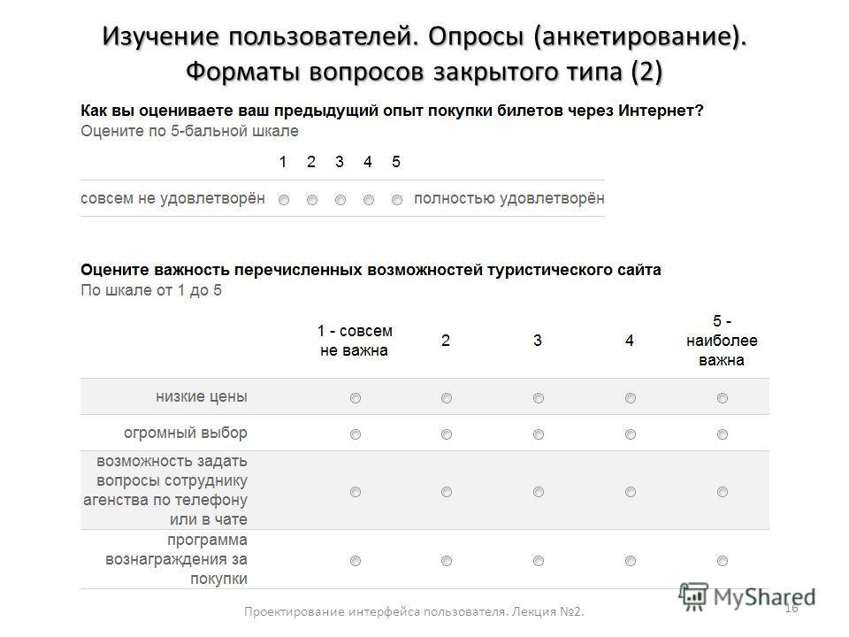 16 Проектирование интерфейса пользователя. Лекция 2. Изучение пользователей. Опросы (анкетирование). Форматы вопросов закрытого типа (2)