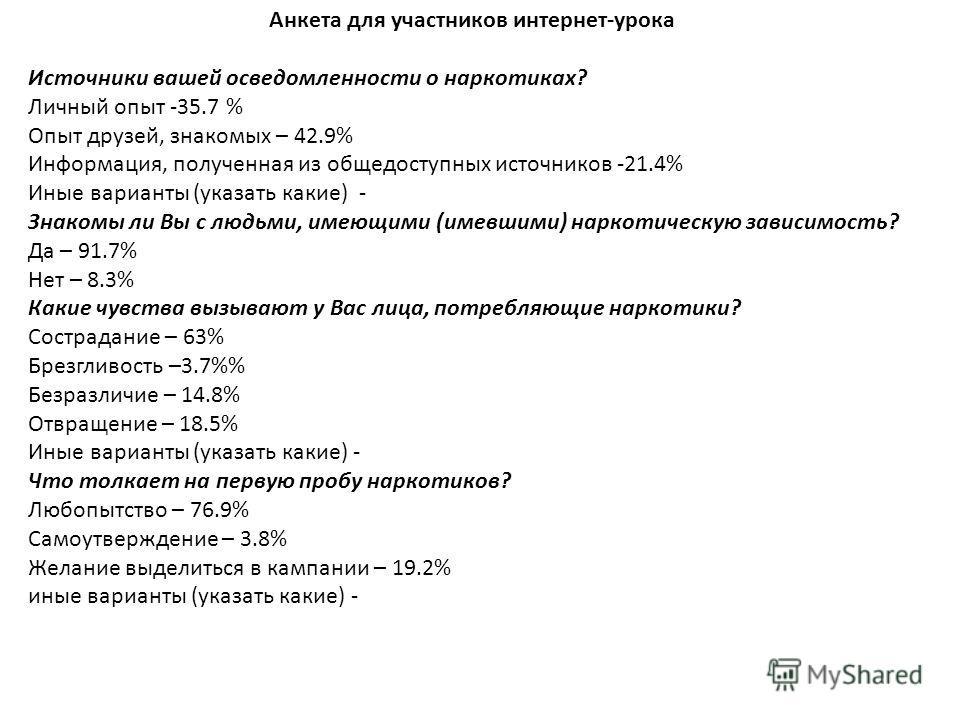 Анкета для участников интернет-урока Источники вашей осведомленности о наркотиках? Личный опыт -35.7 % Опыт друзей, знакомых – 42.9% Информация, полученная из общедоступных источников -21.4% Иные варианты (указать какие) - Знакомы ли Вы с людьми, име