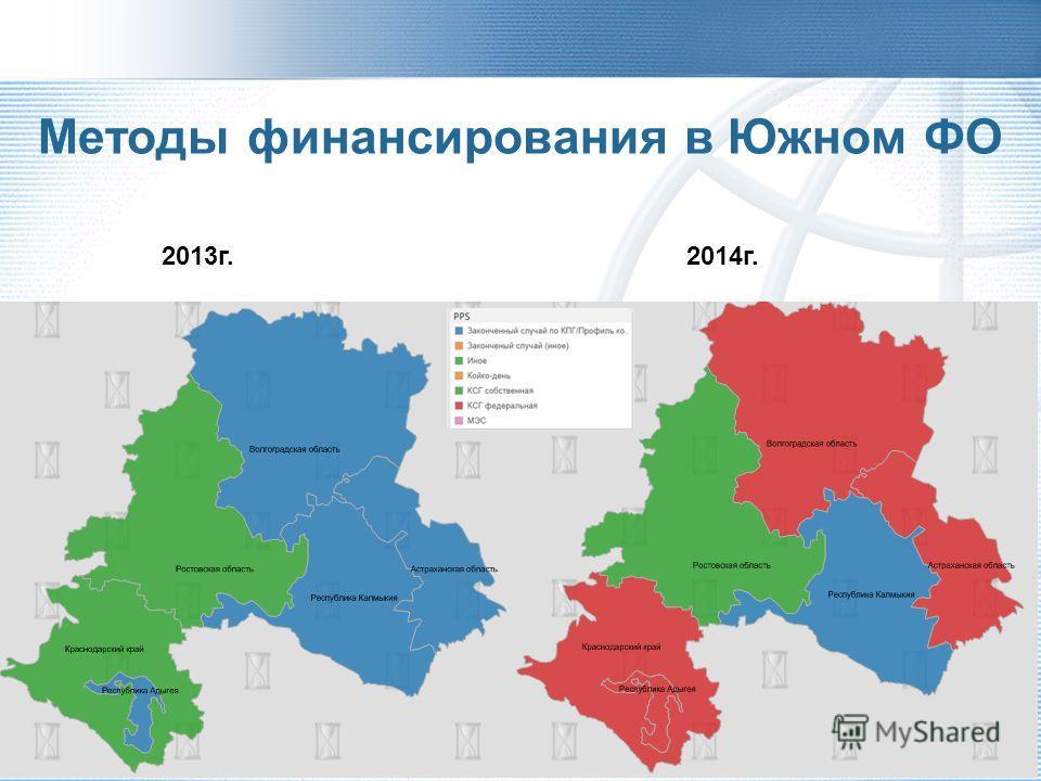 Методы финансирования стационарной помощи в 2013 и 2014 гг.