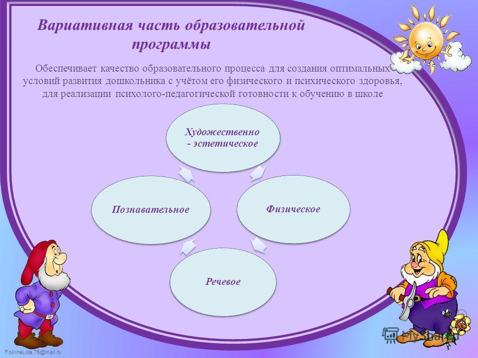 FokinaLida.75@mail.ru Вариативная часть образовательной программы Обеспечивает качество образовательного процесса для создания оптимальных условий развития дошкольника с учётом его физического и психического здоровья, для реализации психолого-педагог