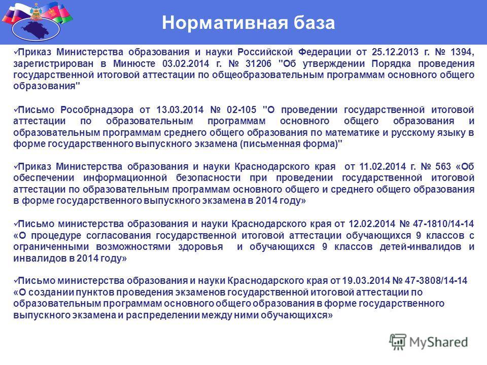 Нормативная база Приказ Министерства образования и науки Российской Федерации от 25.12.2013 г. 1394, зарегистрирован в Минюсте 03.02.2014 г. 31206