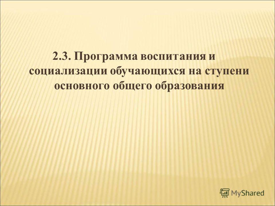 2.3. Программа воспитания и социализации обучающихся на ступени основного общего образования