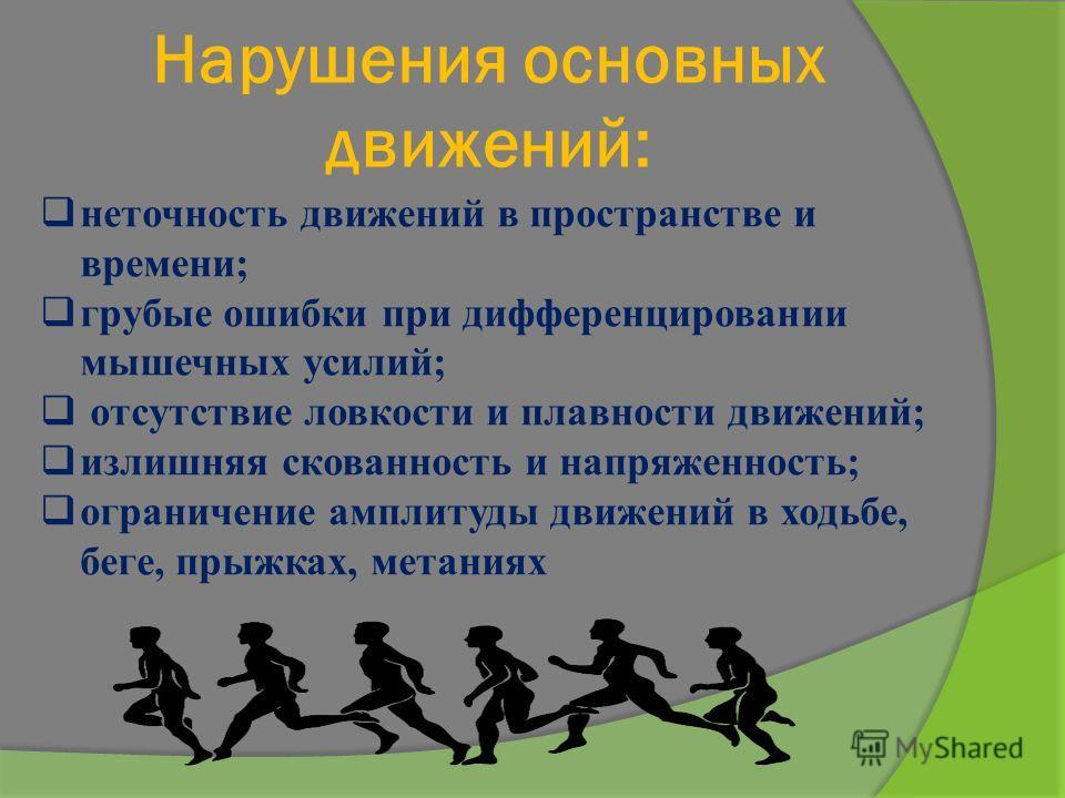 Нарушения основных движений: неточность движений в пространстве и времени; грубые ошибки при дифференцировании мышечных усилий; отсутствие ловкости и плавности движений; излишняя скованность и напряженность; ограничение амплитуды движений в ходьбе, б