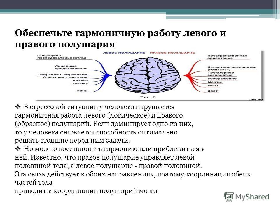 Обеспечьте гармоничную работу левого и правого полушария В стрессовой ситуации у человека нарушается гармоничная работа левого (логическое) и правого (образное) полушарий. Если доминирует одно из них, то у человека снижается способность оптимально ре