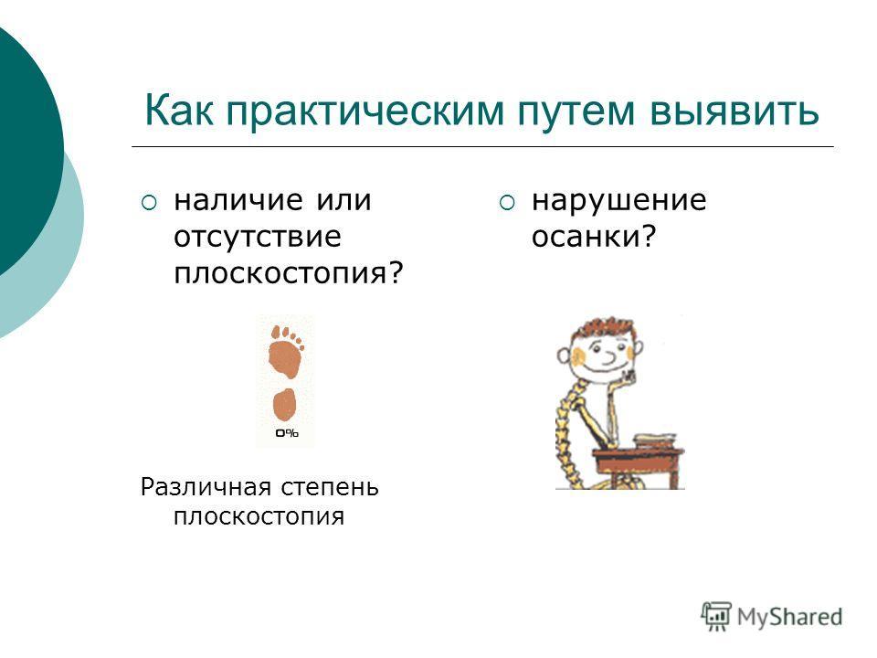 Как практическим путем выявить наличие или отсутствие плоскостопия? Различная степень плоскостопия нарушение осанки?
