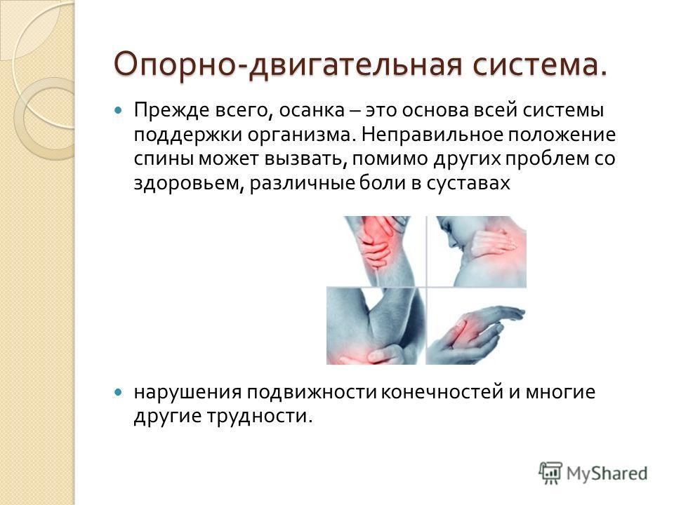 Опорно - двигательная система. Прежде всего, осанка – это основа всей системы поддержки организма. Неправильное положение спины может вызвать, помимо других проблем со здоровьем, различные боли в суставах нарушения подвижности конечностей и многие др