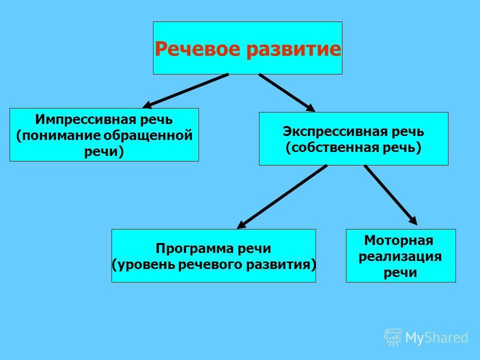Речевое развитие Импрессивная речь (понимание обращенной речи) Экспрессивная речь (собственная речь) Программа речи (уровень речевого развития) Моторная реализация речи