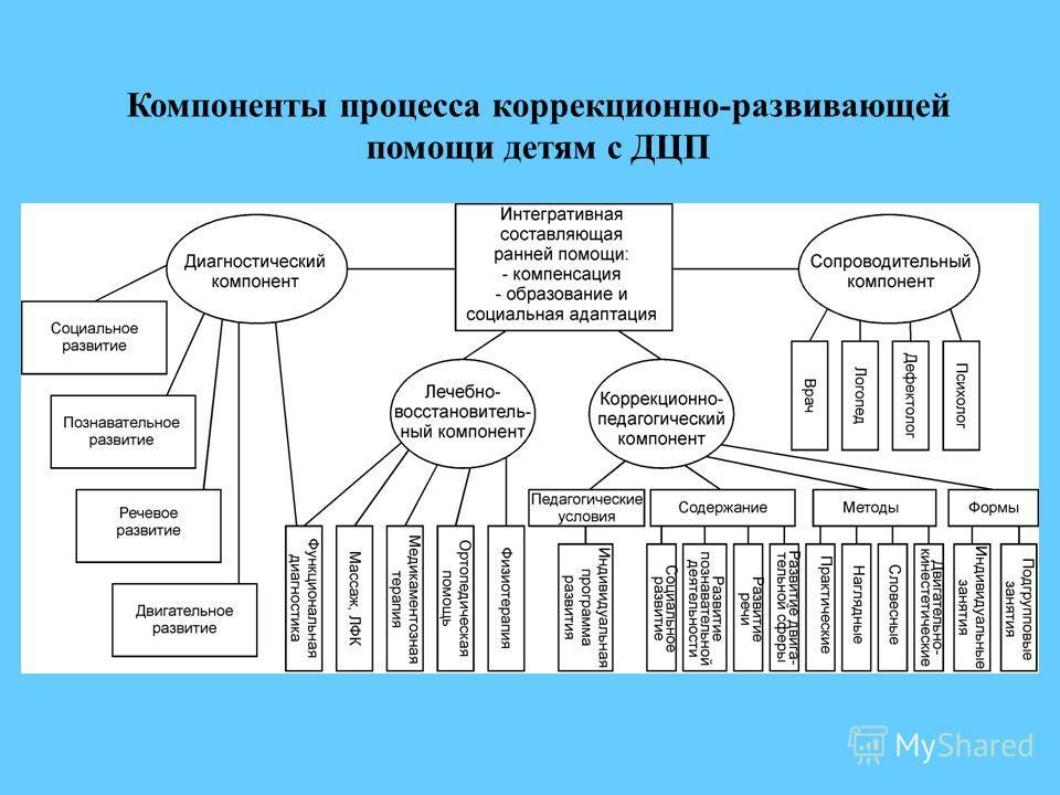 Компоненты процесса коррекционно-развивающей помощи детям с ДЦП
