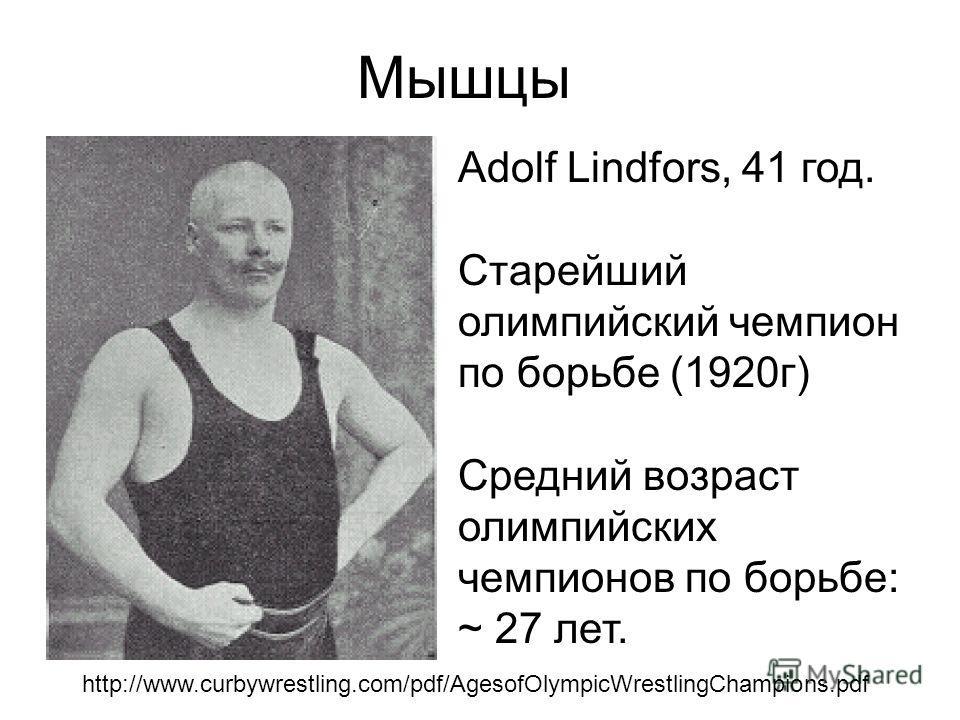 Adolf Lindfors, 41 год. Старейший олимпийский чемпион по борьбе (1920 г) Средний возраст олимпийских чемпионов по борьбе: ~ 27 лет. http://www.curbywrestling.com/pdf/AgesofOlympicWrestlingChampions.pdf Мышцы