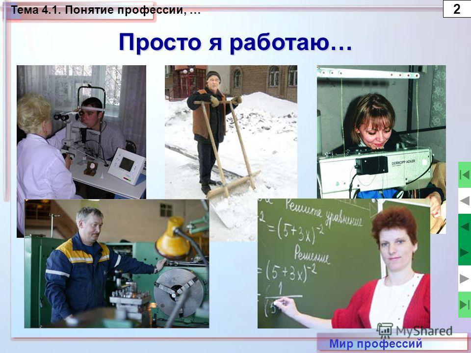 Тема 4.1. Понятие профессии, … 2 Просто я работаю… Мир профессий