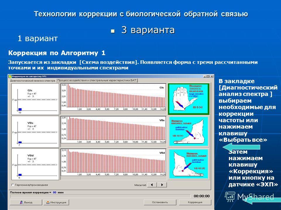 Технологии коррекции с биологической обратной связью 3 варианта 3 варианта 1 вариант Коррекция по Алгоритму 1 Запускается из закладки [Схема воздействия]. Появляется форма с тремя рассчитанными точками и их индивидуальными спектрами В закладке [Диагн