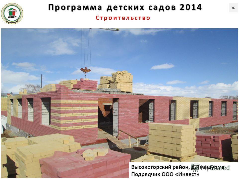Программа детских садов 2014 Строительство 36 Высокогорский район, д.Ямашурма Подрядчик ООО «Инвест»