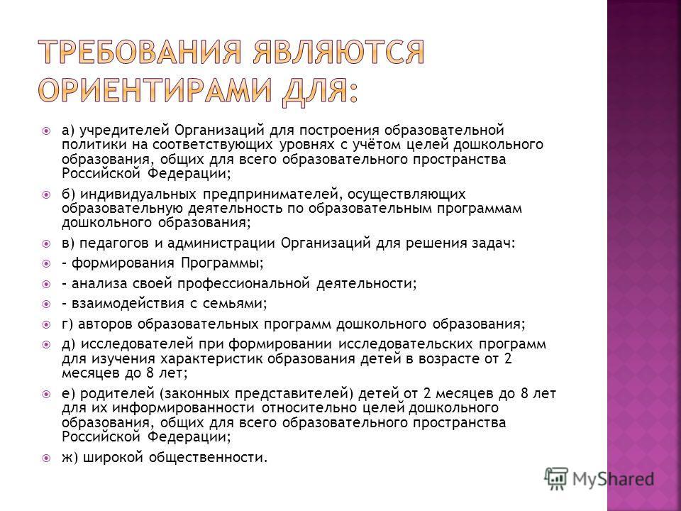 а) учредителей Организаций для построения образовательной политики на соответствующих уровнях с учётом целей дошкольного образования, общих для всего образовательного пространства Российской Федерации; б) индивидуальных предпринимателей, осуществляющ