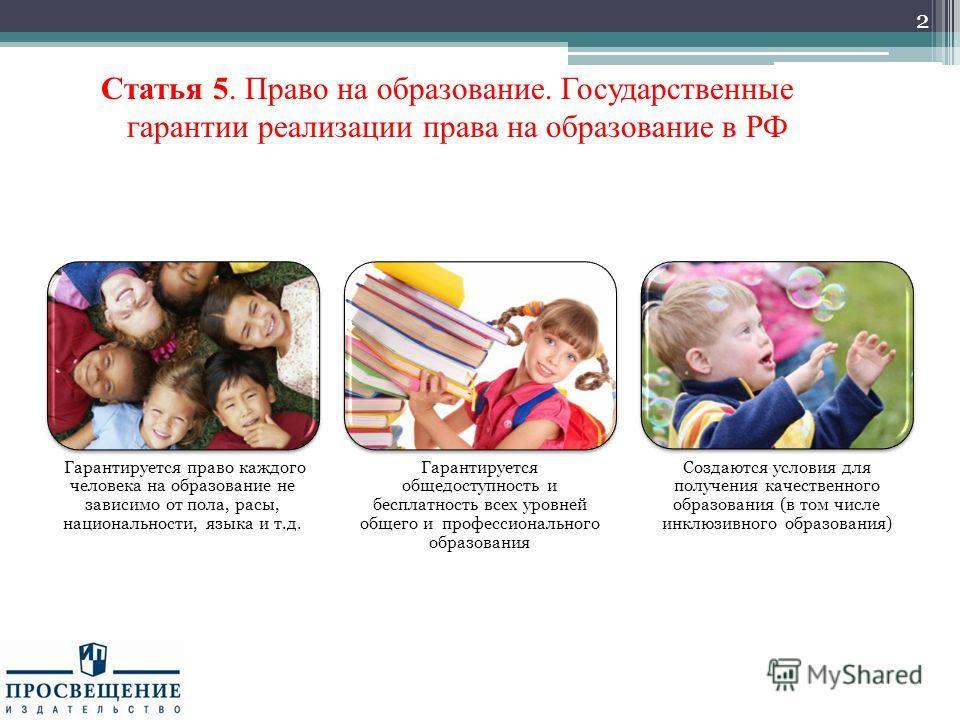 Статья 5. Право на образование. Государственные гарантии реализации права на образование в РФ 2 Гарантируется право каждого человека на образование не зависимо от пола, расы, национальности, языка и т.д. Гарантируется общедоступность и бесплатность в