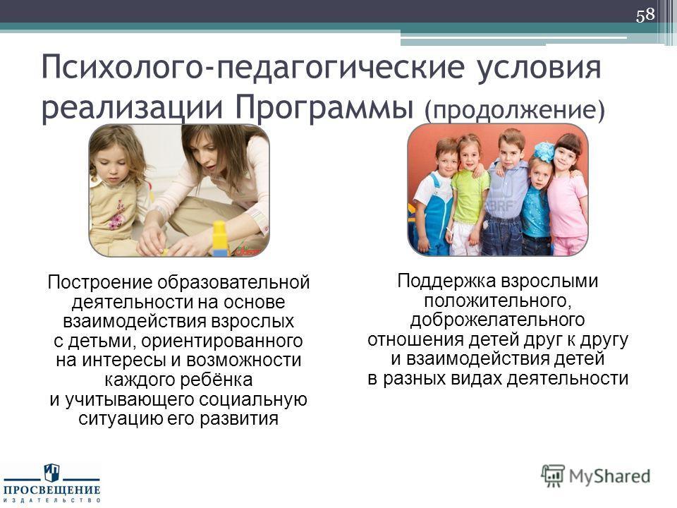 58 Построение образовательной деятельности на основе взаимодействия взрослых с детьми, ориентированного на интересы и возможности каждого ребёнка и учитывающего социальную ситуацию его развития Поддержка взрослыми положительного, доброжелательного от