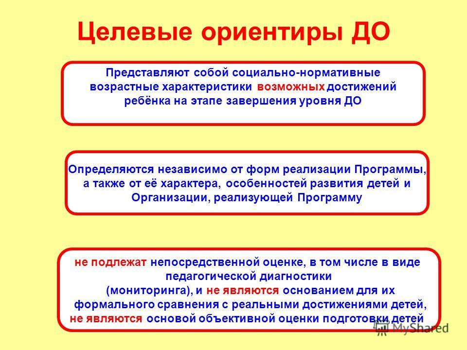 Целевые ориентиры ДО Представляют собой социально-нормативные возрастные характеристики возможных достижений ребёнка на этапе завершения уровня ДО Определяются независимо от форм реализации Программы, а также от её характера, особенностей развития де