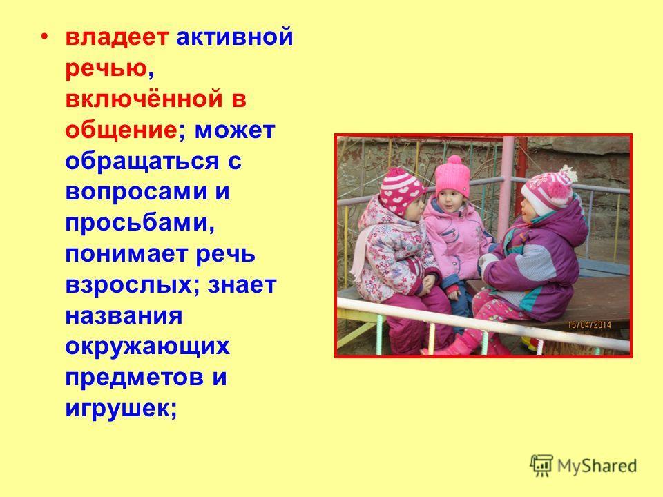 владеет активной речью, включённой в общение; может обращаться с вопросами и просьбами, понимает речь взрослых; знает названия окружающих предметов и игрушек;