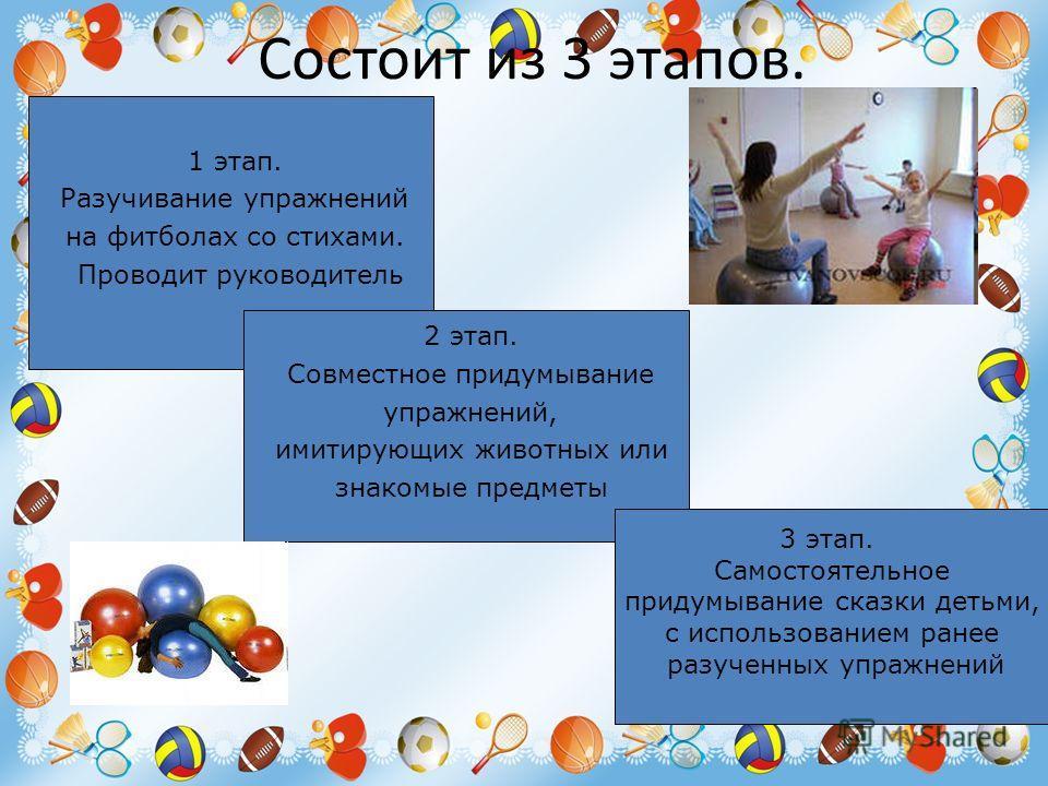Состоит из 3 этапов. 1 этап. Разучивание упражнений на фитболах со стихами. Проводит руководитель 2 этап. Совместное придумывание упражнений, имитирующих животных или знакомые предметы 3 этап. Самостоятельное придумывание сказки детьми, с использован