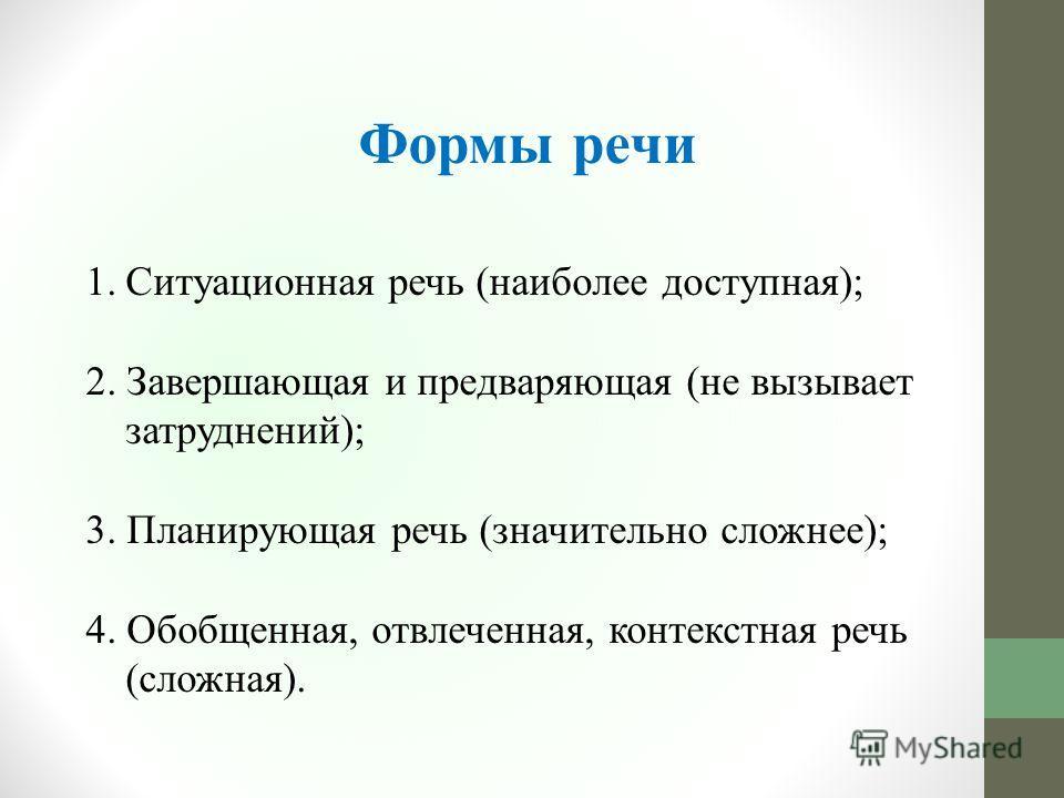 Формы речи 1. Ситуационная речь (наиболее доступная); 2. Завершающая и предваряющая (не вызывает затруднений); 3. Планирующая речь (значительно сложнее); 4. Обобщенная, отвлеченная, контекстная речь (сложная).