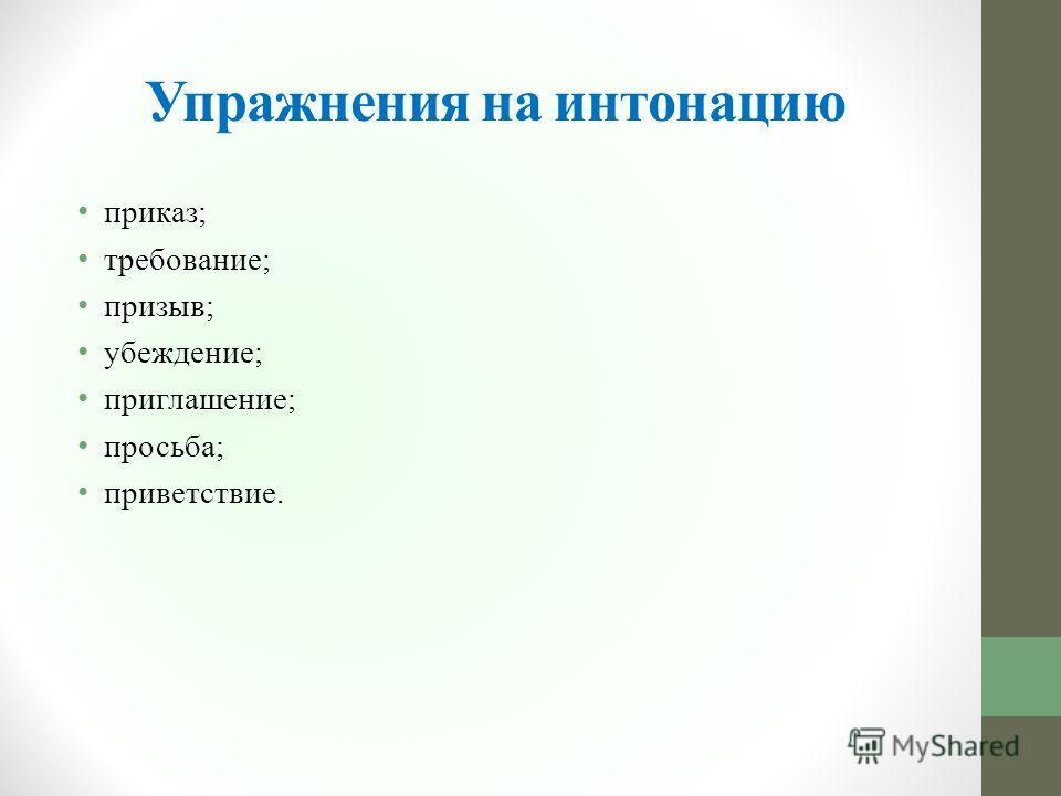 Упражнения на интонацию приказ; требование; призыв; убеждение; приглашение; просьба; приветствие.