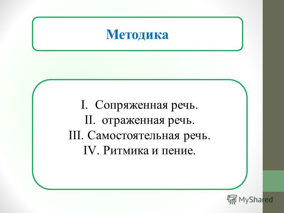 Методика I.Сопряженная речь. II. отраженная речь. III. Самостоятельная речь. IV. Ритмика и пение.