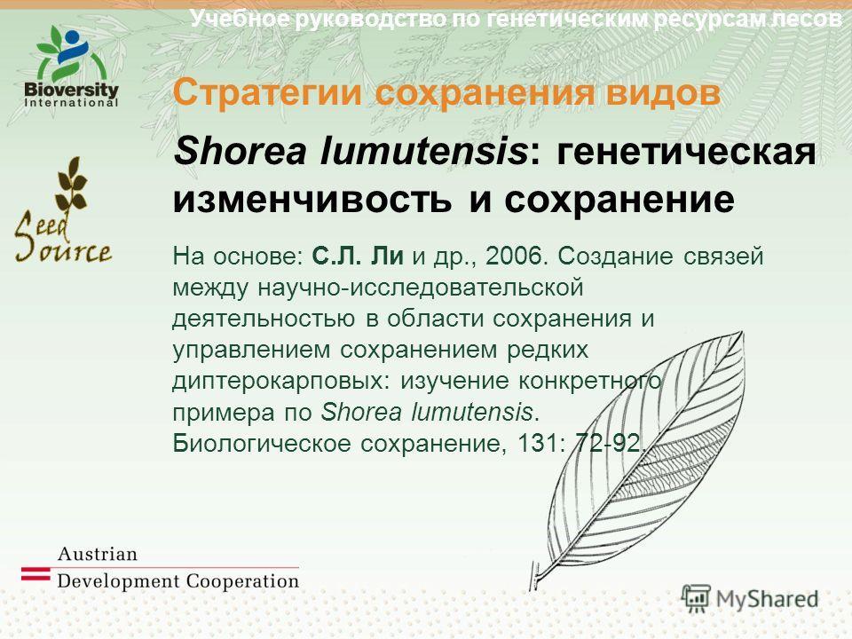 Учебное руководство по генетическим ресурсам лесов Стратегии сохранения видов Shorea lumutensis: генетическая изменчивость и сохранение На основе: С.Л. Ли и др., 2006. Создание связей между научно-исследовательской деятельностью в области сохранения