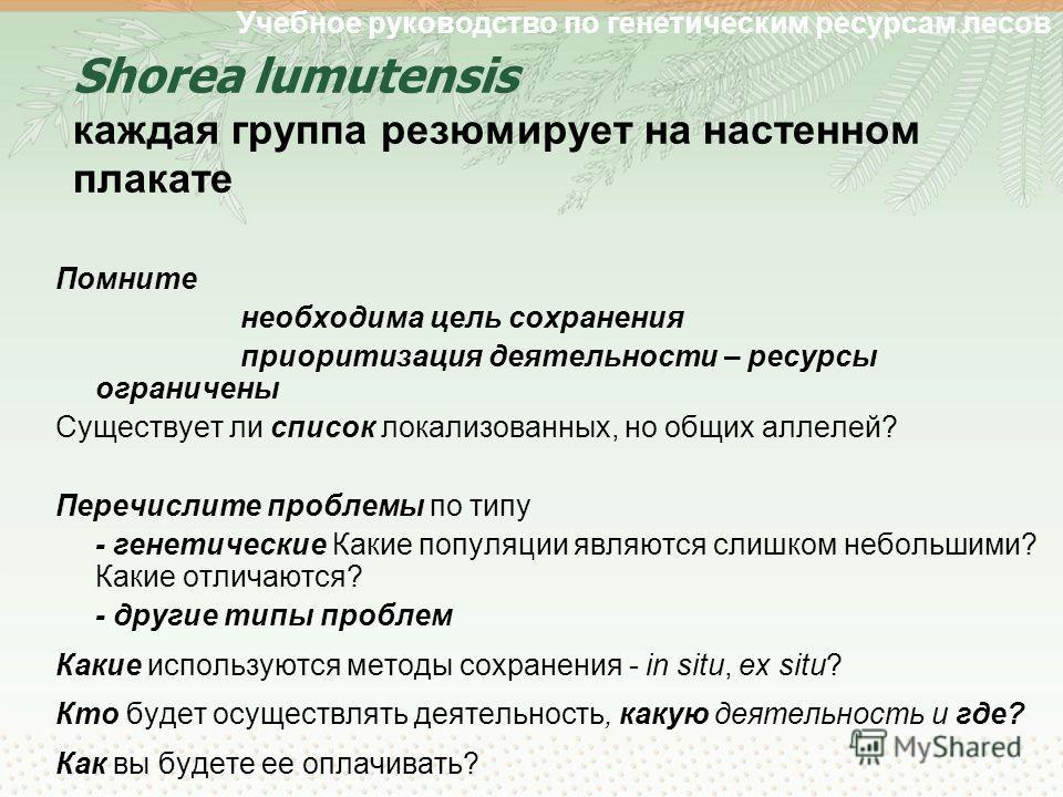 Учебное руководство по генетическим ресурсам лесов Shorea lumutensis каждая группа резюмирует на настенном плакате Помните необходима цель сохранения приоритизация деятельности – ресурсы ограничены Существует ли список локализованных, но общих аллеле