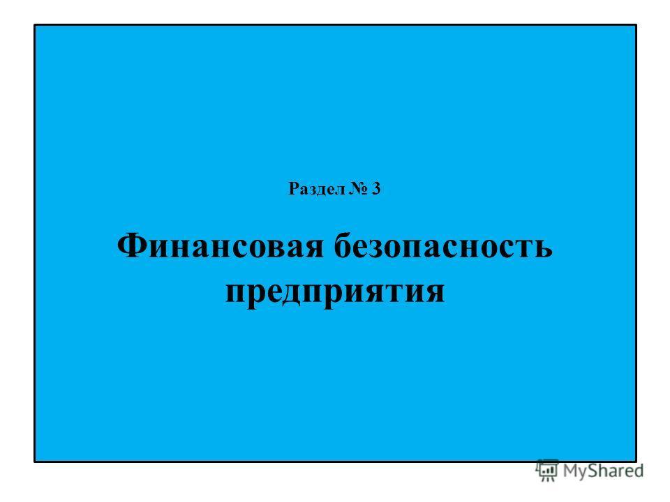 Раздел 3 Финансовая безопасность предприятия