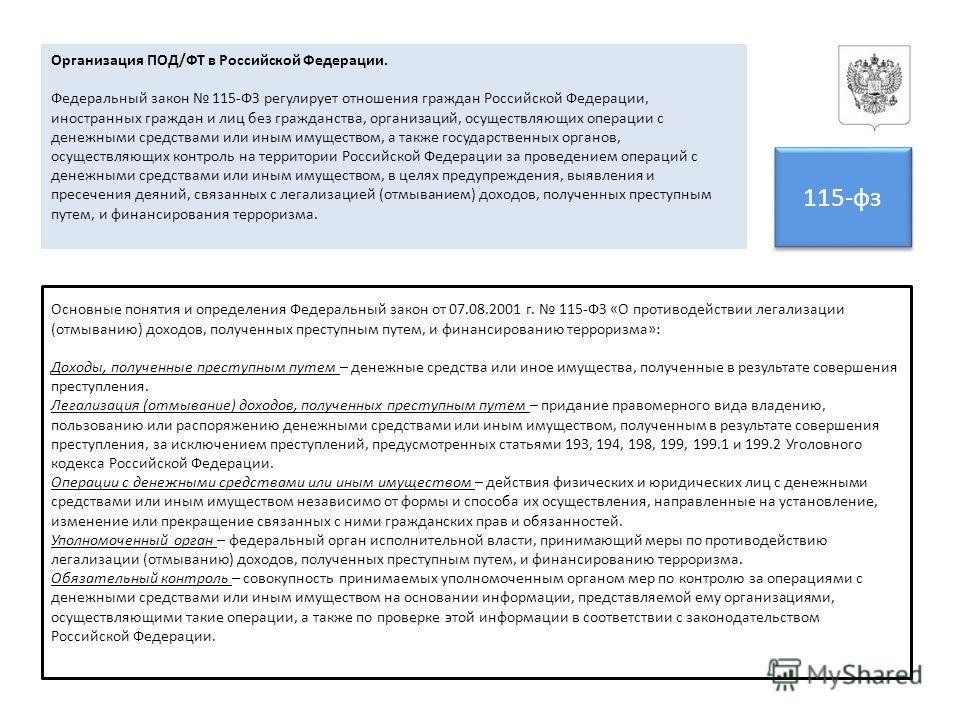 Организация ПОД/ФТ в Российской Федерации. Федеральный закон 115-ФЗ регулирует отношения граждан Российской Федерации, иностранных граждан и лиц без гражданства, организаций, осуществляющих операции с денежными средствами или иным имуществом, а также