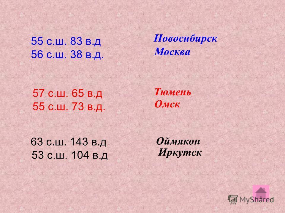 55 с.ш. 83 в.д 56 с.ш. 38 в.д. 57 с.ш. 65 в.д 55 с.ш. 73 в.д. 63 с.ш. 143 в.д 53 с.ш. 104 в.д Новосибирск Москва Тюмень Омск Оймякон Иркутск