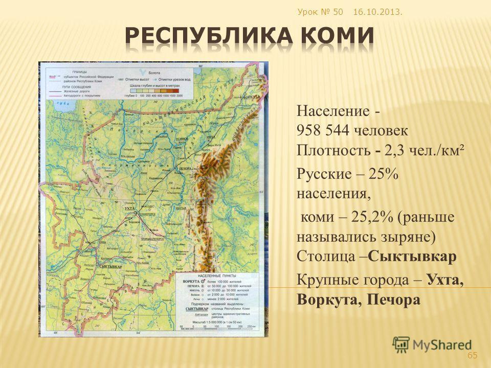 Население - 958 544 человек Плотность - 2,3 чел./км² Русские – 25% населения, коми – 25,2% (раньше назывались зыряне) Столица –Сыктывкар Крупные города – Ухта, Воркута, Печора 16.10.2013. 65 Урок 50