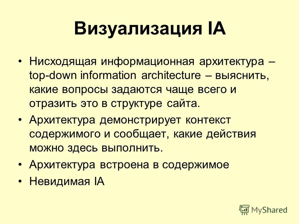 Визуализация IA Нисходящая информационная архитектура – top-down information architecture – выяснить, какие вопросы задаются чаще всего и отразить это в структуре сайта. Архитектура демонстрирует контекст содержимого и сообщает, какие действия можно