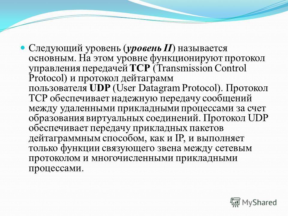 Следующий уровень (уровень II) называется основным. На этом уровне функционируют протокол управления передачей TCP (Transmission Control Protocol) и протокол дейтаграмм пользователя UDP (User Datagram Protocol). Протокол TCP обеспечивает надежную пер