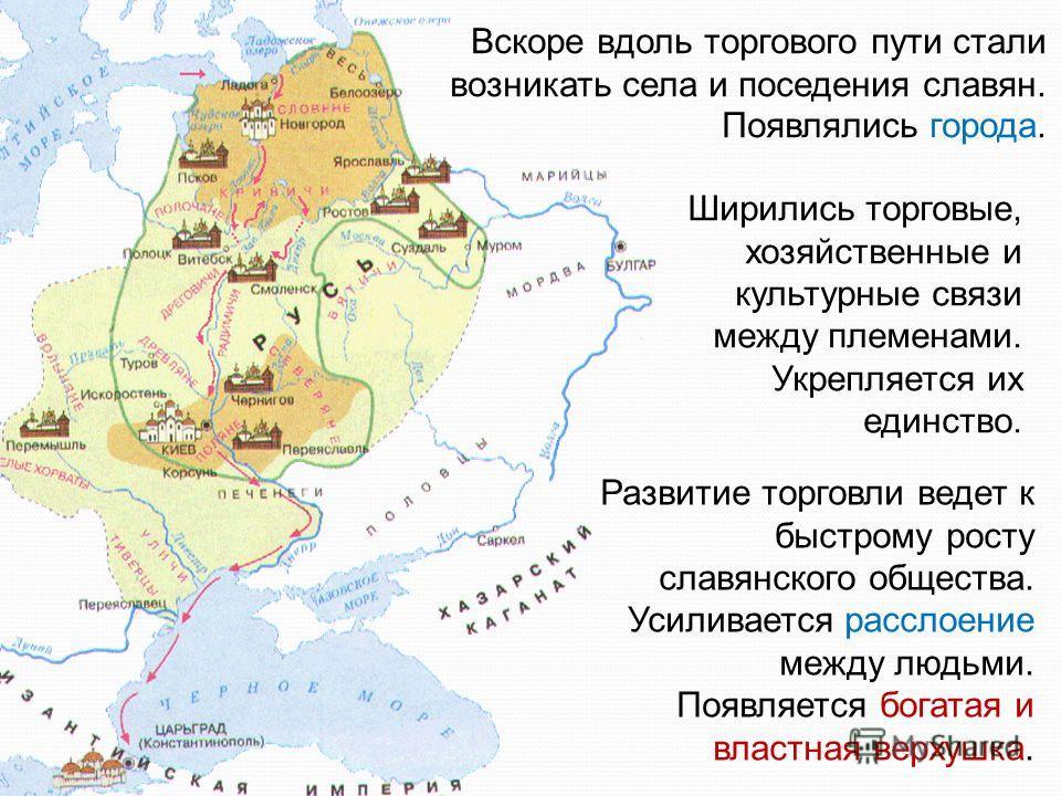 Вскоре вдоль торгового пути стали возникать села и поседения славян. Появлялись города. Ширились торговые, хозяйственные и культурные связи между племенами. Укрепляется их единство. Развитие торговли ведет к быстрому росту славянского общества. Усили