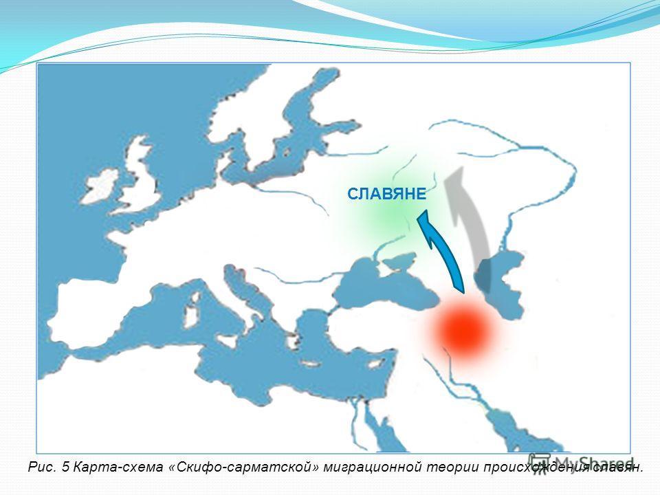 Рис. 5 Карта-схема «Скифо-сарматской» миграционной теории происхождения славян. СЛАВЯНЕ