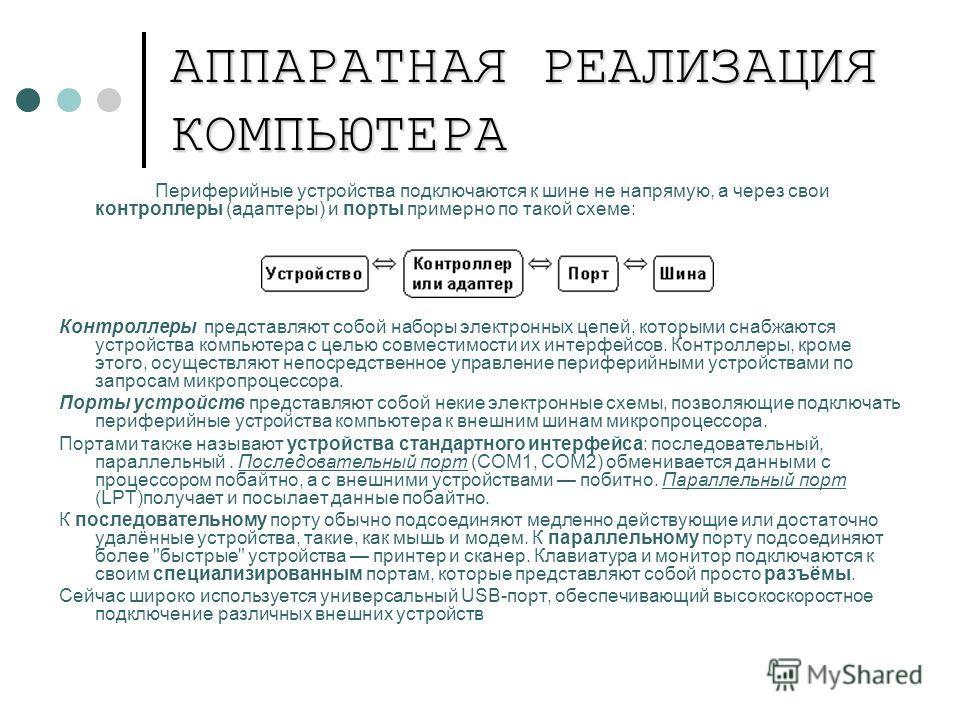 АППАРАТНАЯ РЕАЛИЗАЦИЯ КОМПЬЮТЕРА Периферийные устройства подключаются к шине не напрямую, а через свои контроллеры (адаптеры) и порты примерно по такой схеме: Контроллеры представляют собой наборы электронных цепей, которыми снабжаются устройства ком