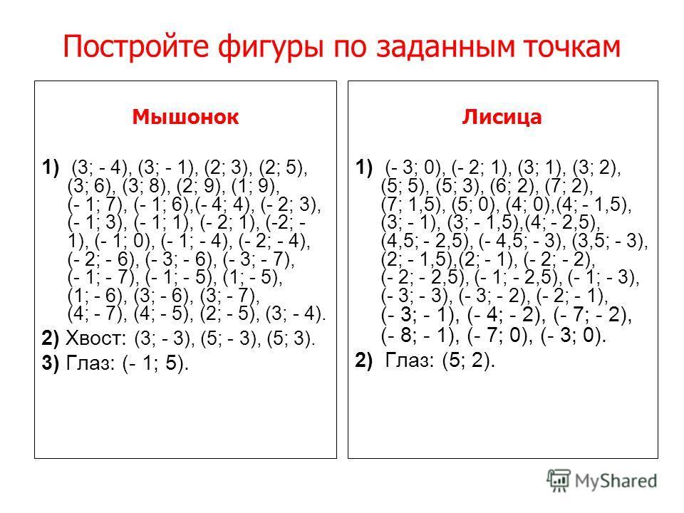 Построить фигуру, последовательно соединяя точки 1) (- 8; 1), (- 6; 2), (- 2; 0), (1; 2), (5; 1), (7; - 4), (9; - 3). 2) (- 2; 6), (0; 8), (3; 7), (5; 5), (7; 7). 3) (1; 2), (3; 9), (4; 8), (5; 8), (6; 9), (6; 10), (5; 11), (4; 11), (3; 10), (3; 9).