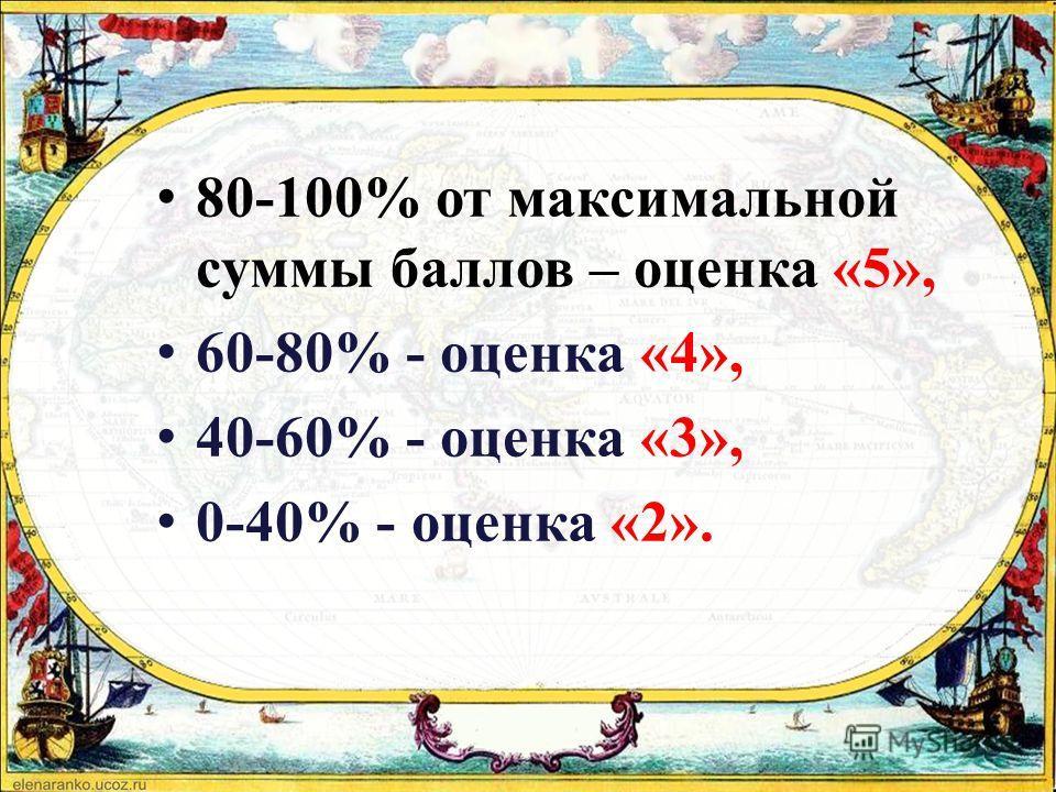 80-100% от максимальной суммы баллов – оценка «5», 60-80% - оценка «4», 40-60% - оценка «3», 0-40% - оценка «2».