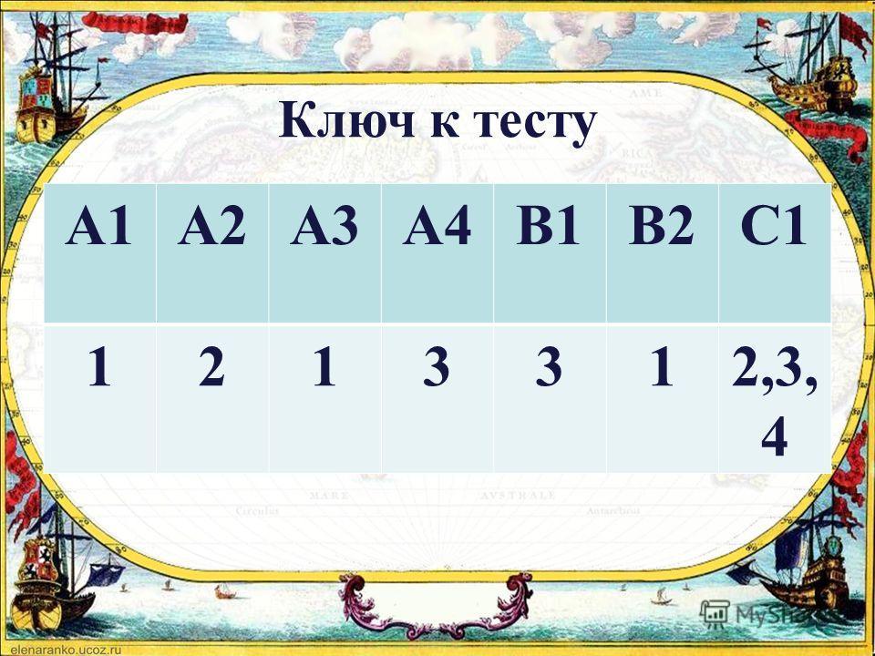 Ключ к тесту А1А2А3А4В1В2С1 1213312,3, 4