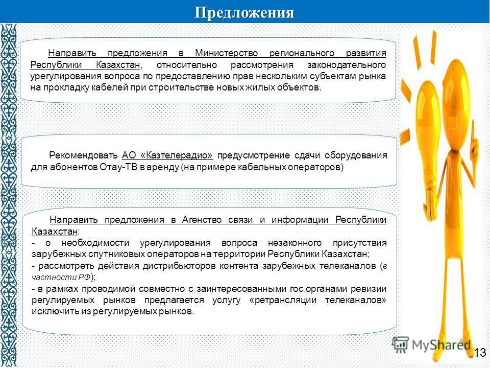 Предложения Рекомендовать АО «Казтелерадио» предусмотрение сдачи оборудования для абонентов Отау-ТВ в аренду (на примере кабельных операторов) Направить предложения в Министерство регионального развития Республики Казахстан, относительно рассмотрения
