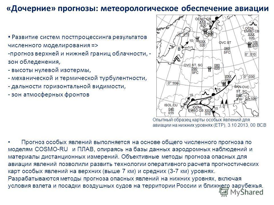 «Дочерние» прогнозы: метеорологическое обеспечение авиации Прогноз особых явлений выполняется на основе общего численного прогноза по моделям COSMO-RU и ПЛАВ, опираясь на базы данных аэродромных наблюдений и материалы дистанционных измерений. Объекти