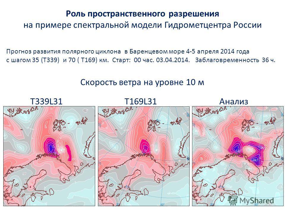 T339L31T169L31Анализ Прогноз развития полярного циклона в Баренцевом море 4-5 апреля 2014 года с шагом 35 (Т339) и 70 ( Т169) км. Cтарт: 00 час. 03.04.2014. Заблаговременность 36 ч. Скорость ветра на уровне 10 м Роль пространственного разрешения на п