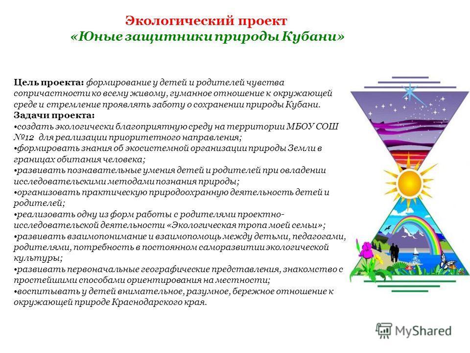 Экологический проект «Юные защитники природы Кубани» Цель проекта: формирование у детей и родителей чувства сопричастности ко всему живому, гуманное отношение к окружающей среде и стремление проявлять заботу о сохранении природы Кубани. Задачи проект